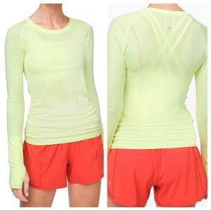 Lululemon Run Swiftly Long Sleeve Neon Yellow 10